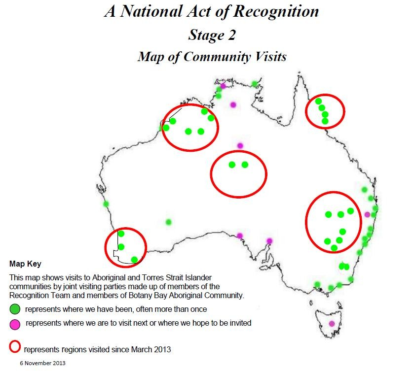 A National Act of Recognition - Stage 2 Map of Community Visits represents regions visited since March 2013