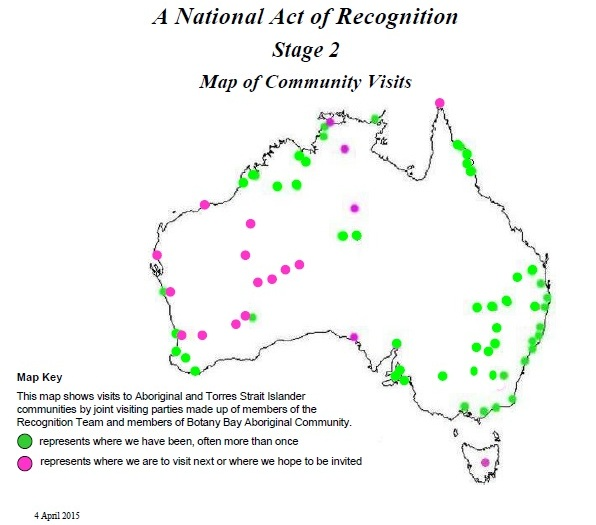 A National Act of Recognition - Stage 2 Map of Community Visits represents regions visited to 4-April-2015